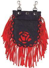 Genuine Leather Belt Bag - Hip Purse - Fringe - Red Rose Biker / Motorcycle