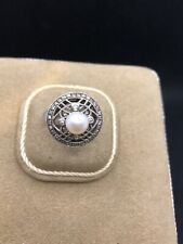 Antique French Silver Sterling Ring Pearl Cubic Zirconia
