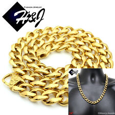 "24""MEN Stainless Steel  HEAVY WIDE 13x5mm Gold Cuban Curb Chain Necklace*GN136"