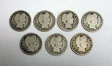Lot of 7 Worn, Circulated Barber Silver Qtrs - Valuable Dates with Mint Marks
