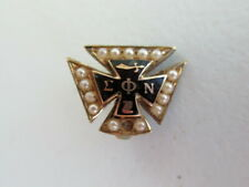 USA FRATERNITY PIN SIGMA PHI NU. MADE IN GOLD 10K. PEARLS. ONE MISSING. 737