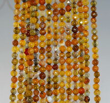 """4MM FIREWORKS CRACKLE AGATE GEMSTONE YELLOW FACETED ROUND LOOSE BEADS 15"""""""