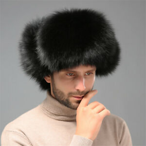 100% Real Fox Hair Fur Hat Winter Warm Earflap Ourdoor for Handsome man