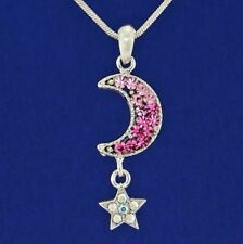 """W Swarovski Crystal Moon Star Pink Pendant Charm 18"""" Chain Necklace Chain Gift"""