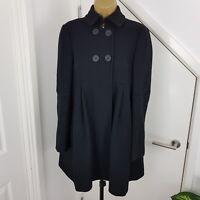 All Saints Coat Waistcoat Wool Buttoned Jacket Black Size UK 8 EU 34