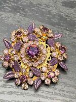 "Vintage Pin Brooch Lavender Purple Glass Crystal Cluster Rhinestones 1.5"""