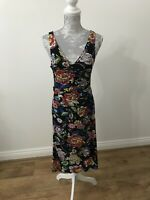 Joe Browns Black Strappy Dress With Bold Bright Floral Print - Size 8