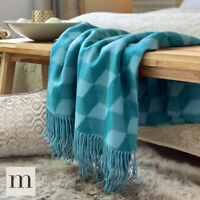 Luxury Soft Woollen Feel Teal Blue Large Abstract Bed Sofa Blanket Throw Modern
