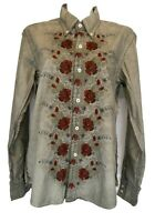 S3) Designer RA-RE Rag Recycle Damen Hemd Bluse Oberteil Gr. M XL XXL Stickerei