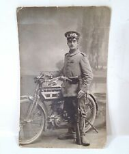 Vintage 1912-1918 NSU Single Cylinder Motorcycle RPPC Photo Soldier W/ Rifle
