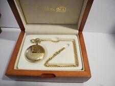 Quartz Pocket Watch W/Chain/Wood Box Colibri Swiss Made Dolan-Bullock Goldtone