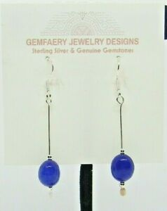 Sterling Silver Natural SAPPHIRE Gemstone Earrings #8246...Handmade USA