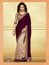 Bollywood Designer Maroon Sari Indian Wedding Party Wear Event Beige Sarees