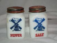 VINTAGE HAZEL ATLAS MILK GLASS SALT PEPPER RANGE SHAKERS WINDMILLS RED LID