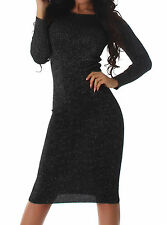 Stretchkleid schwarz silber Lurex 34 36 38 Strickkleid Longpulli Maxikleid Kleid