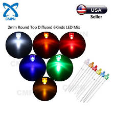 120Pcs 2mm Diffused Round White Red Yellow Green Blue Orange 6Kinds LED Mix Kits