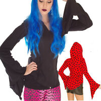 BLACK COTTON HOODIE PIXIE HOOD FLUTED SLEEVES GOTH EMO ALTERNATIVE