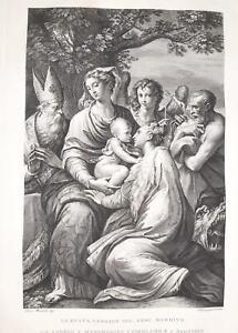 Incisione stampa F Rosaspina La B. Vergine Gesù bambino SS. Margherita Girolamo…