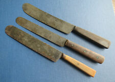 3 ANTIQUE TABLE KNIVES - Wm GREAVES - SHEAR STEEL
