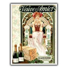 CHAMPAGNE Veuve Amiot francese Metallo Segno Pubblicità Vintage Piastra a parete Bar Decorazione Stampa