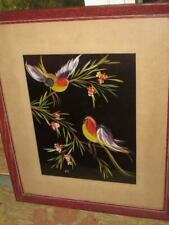 ANTIQUE 1930'S STYLIZED BIRDS ARTIST SIGNED OIL PAINTING ON SILK