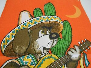 Vintage Teatowel 'Mexican Dog' Linen/Cotton Blend by Dunmoy - Brand New