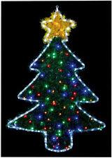 Christmas Tree Tinsel Light Multi Colour Fir Silhouette Garden Wall Fence Decor