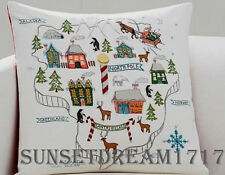Pottery Barn Christmas North Pole Map Embroidered Pillow Cover 20""