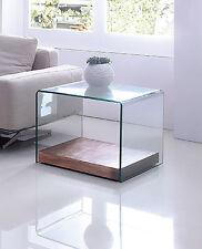 Design Beistelltisch Wood Cube Wohnzimmertisch Tisch Glas klar Holz [200311]