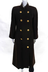Givenchy Couture Womens Vintage Double Breasted Peacoat Brown Size Large
