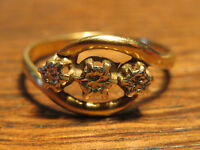 Ancienne bague en or 18 carats french antique golden jewel ring