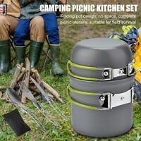 Outdoor Camping Cookware Pot Set Portable 1-2 Person Picnic Hiking Kitchenware