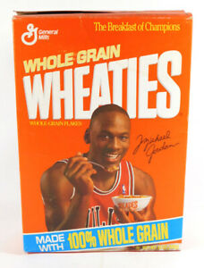 1991 General Mills MICHAEL JORDAN 12 oz. Empty Cereal Box Jordan Eating Wheaties