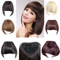 1x US Stock Side Bangs Clip on Neat Bang Fringe Clip in Hair Extensions as Human