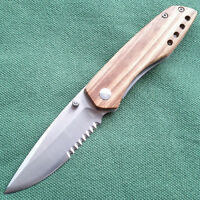 ENLAN 8Cr13MoV half-serrated Blade Liner Lock Wood Handel Folding Knife M011B