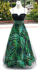NWT MASQUERADE $170 Black / Lime Party Evening Gown 7