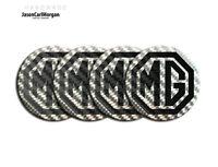 MGF MG TF Badges Alloy Wheel Hub Cap Centres Black Carbon Fibre Silver 55mm