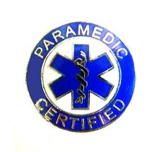 Paramedic Certified Collar Pin Device Silver Blue Blue Star of Life 61S2 New