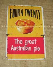 AUSSIE MEAT PIE TIN SIGN Four n Twenty vintage Advert Australian food MAN CAVE