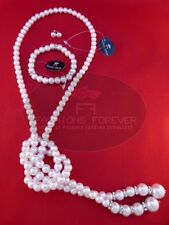 FASHIONS FOREVER® Knotted Faux-Pearl Necklace Set (Necklace,Earrings,bracelet)