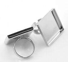 50 Fai da Te Basi per Anello Regolabile Piastra Quadrato Argento 18.7mm