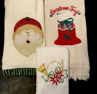 Christmas Fingertip Towels Appliquéd Teddy Bear Fur Embroidered - Lot Of 3