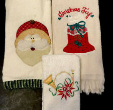 Christmas Fingertip Towels Appliquéd Teddy Bear Fur Embroidered - Lot Of 3