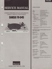 Sansui Fr-D45 Original Turntable Service Manual