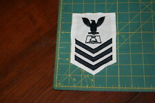 Boatswains Mate First Class Mess Management Black on White Rank Insignia