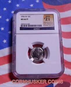 1996 W ROOSEVELT DIME NGC MS 66 FT~ 21ST RANK IN RARITY 100 MODERN COINS ~ RARE!