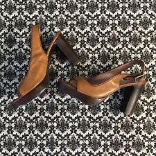 Funky Vintage Looking Leather Platform Sandals 8.