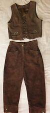 3teiliges Trachten Weste Hose Bluse Leder  Gr. 36-40