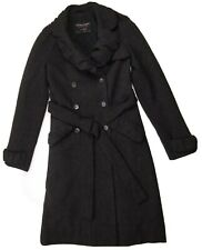All Saints Charcoal Grey Elain Evening Trench Coat 100% Wool UK 8 DoubleBreasted