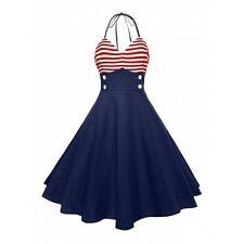 Vintage Style Sailor Red, White & Blue Halter Dress 50s Rockabilly Pinup Retro L
